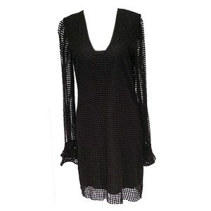 DIANE von FURSTENBERG BLACK CROCHET DRESS size 4